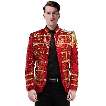 Allthemen Men's Tuxedo Blazer Sequins Dance Costume Stage Dress Suit Jacket