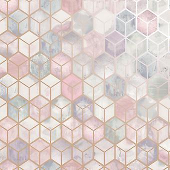 3D Effect Honeycomb Pink Wallpaper Geometric Grey Rose Gold Metallic Holden