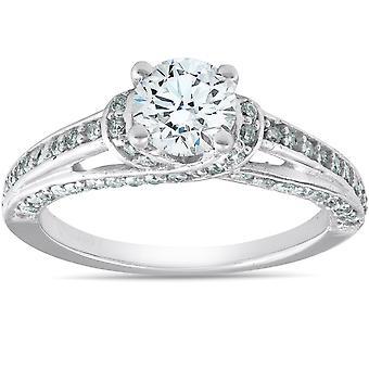 1 1 / 4ct, Heirloom Diamond Engagement Ring 14K White Gold