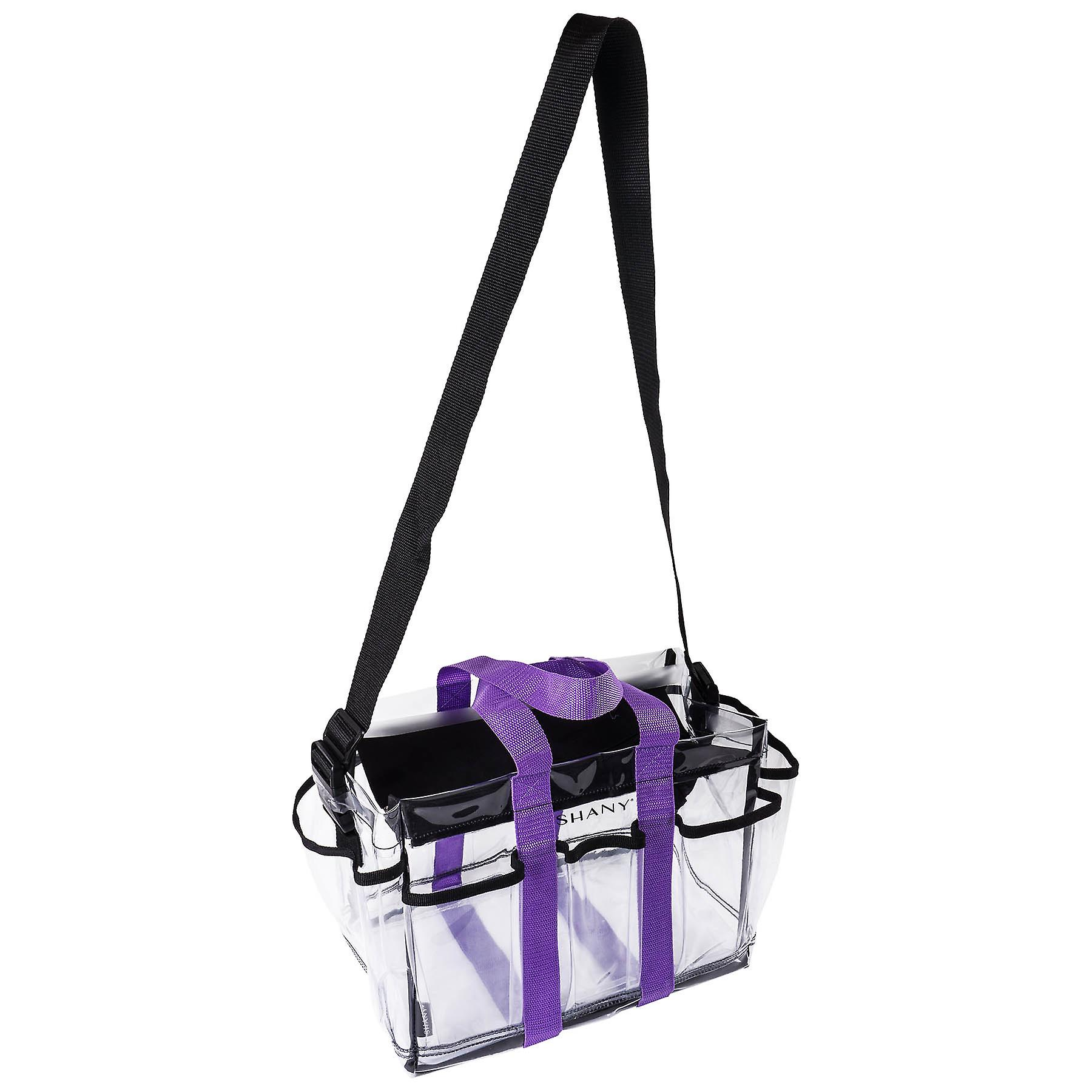 SHANY Clear Makeup Organizer and Travel Caddy – Multiple Pockets - Large, Nontoxic Plastic Tote with Black Shoulder Strap and Purple Handles