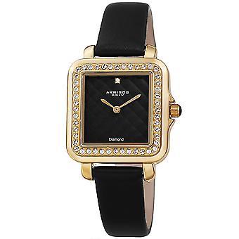 Akribos XXIV AKS191106BK kvinnor ' s Quartz Square diamant och kristaller Argyle läderrem klocka