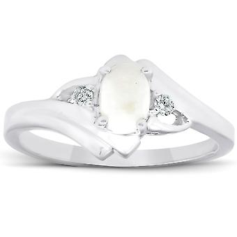 3 / 8ct Opal Oval Diamond Ring 14K ouro branco