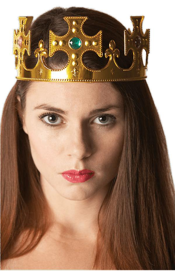 Womens Gold Crown Costume Accessory Queen Princess Throne King Fancy Dress