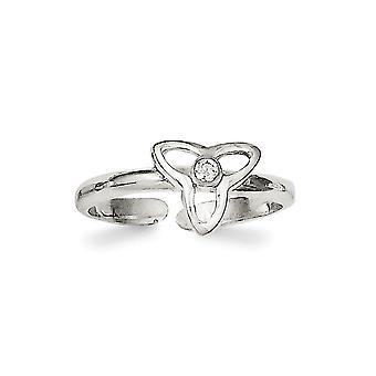 925 Sterling Sølv CZ Cubic Zirconia Simulert Diamant polert Trinity Tå Ring Smykker Gaver til kvinner