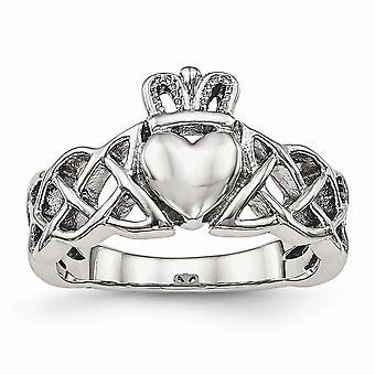 Rustfritt stål polert Claddagh Ring - Ring størrelse: 6 til 9