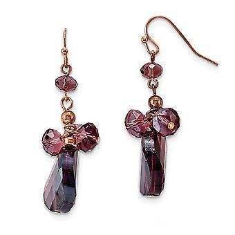 Herdekrok Roston Mörk röd kristall Rund Lång Droppe Dangle Örhängen Mäter 43x13mm breda smycken gåvor för kvinnor