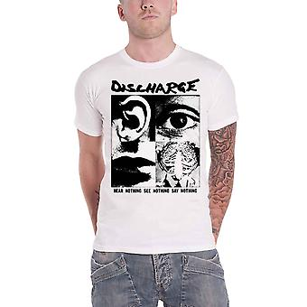 Discharge T Shirt Hear Nothing Band Logo new Official Mens White