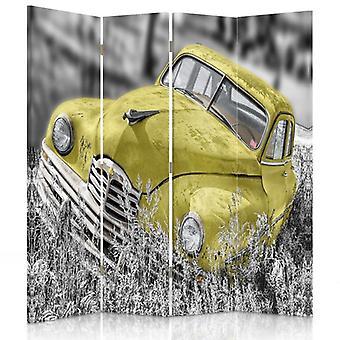 Divisor de habitación, 4 paneles, doble cara, 360o giratorio, lona, coche amarillo en la hierba