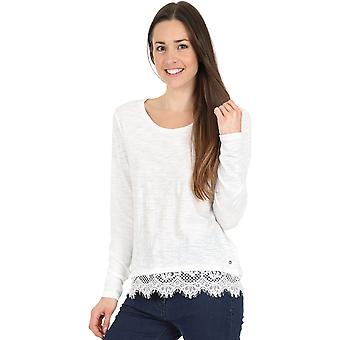 Superdry Ashby Lace Hem Long Sleeve Top White 92