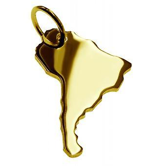 Hänge karta kedja hänge i guldgult-guld i form av Sydamerika