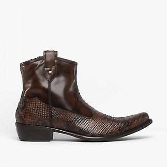Machete Crockett Mens Leather Reptile Cuban Heel Boots Python/brown