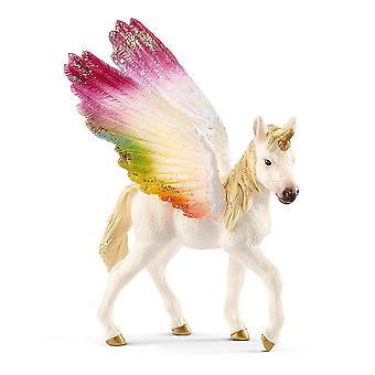 Figura audatada do brinquedo do potro do unicórnio do arco-íris de Schleich (70577)