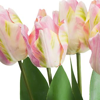 Hill Interiors Artificial Pink And Green Tulip