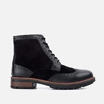 Mens redfoot cooper black leather suede boot