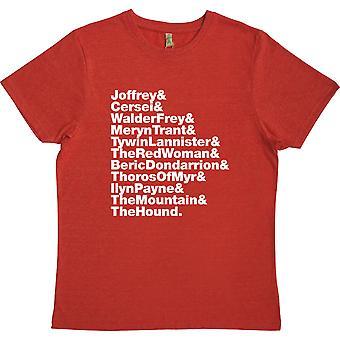 Arya's lista de muertes (Juego de Tronos) Línea Roja 100% Camiseta Reciclada