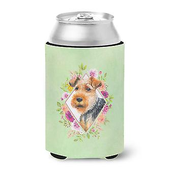 Carolines Treasures  CK4352CC Welsh Terrier Green Flowers Can or Bottle Hugger