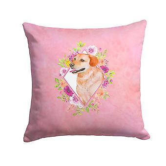 Yellow Labrador Retriever Pink Flowers Fabric Decorative Pillow