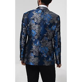 Dobell Herre blå blomster jacquard Tuxedo Jakke regelmæssig pasform kontrast peak revers