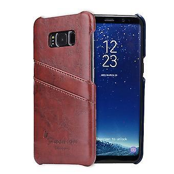 Voor Samsung Galaxy S8 Case, Stijlvolle Luxe Duurzame beschermende lederen cover, bruin