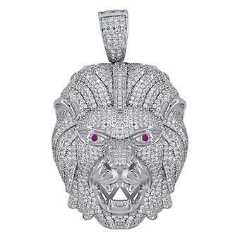 925 שטרלינג CZ מעוקב היהלומים מדומה אריה היהלום ראש Mens אופנה תליון קסם שרשרת תכשיטים מתנות