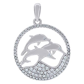 925 Sterling Silver Mens Vrouwen CZ Jumping Dolphins Charme Hanger Ketting Maatregelen 27.7x20.7mm Wide Sieraden Geschenken voor mij