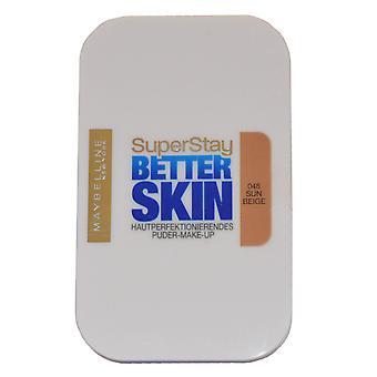 メイベリン スーパー宿泊より良い肌肌の完成パウダーファンデーション 9 g 太陽ベージュ #046