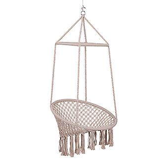Outsunny Hammock Macrame Swing Chair Hanging Seat Rope Tassels Indoor Outdoor Garden Solid Knitted Woven Net Seat Deck Porch Yard Beige