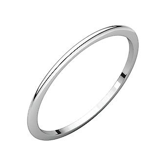 14k White Gold 1mm Half Round Band Ring Jewelry Gifts for Women - Ring Size: 4 to 10