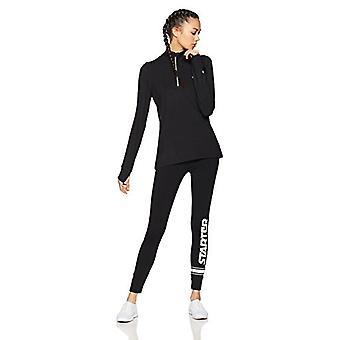 Starter Women's Long Sleeve Half-Zip Top,  Exclusive, Black, Medium