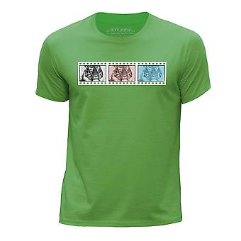 STUFF4 Boy's Round Neck T-Shirt/Film Strip / Animal / Tiger/Green