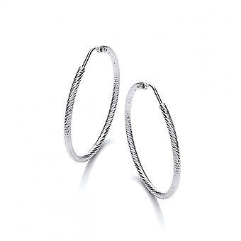 David Deyong Sterling Silver Diamond Cut 45mm Hoop Earrings