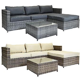 Charles Bentley Lin Shaped 3 Seater Outdoor Rattan Furniture Lounge Set with Aluminium Frame Weatherproof in Grey / Natural