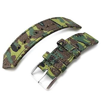 Strapcode fabric watch strap 20mm, 21mm or 22mm miltat ww2 2-piece erdl camouflage canvas watch band with lockstitch round hole, sandblasted