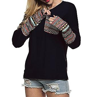 POGTMM Women's Loose Stretchy Long Sleeve Basic Casual, Zwart, Maat XX-Large
