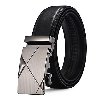 Black leather belt with clampbuckle