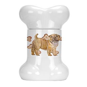 Carolines Treasures  CK2299BSTJ Shar Pei Puppy Bone Shaped Treat Jar