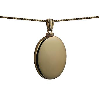 9ct Gold 35x26mm handmade plain oval Memorial Locket with a spiga Chain 24 inches