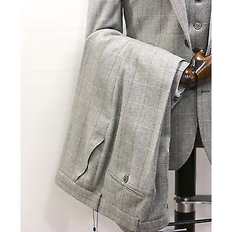 Grey Herringbone With Check Tweed Suit Trousers