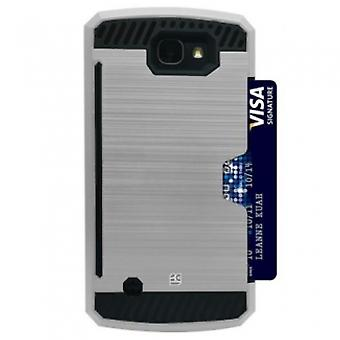 LG K4 BEYOND CELL SHELL CASE RUGGED SERIES CASE - SILVER/BLACK