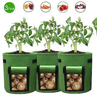 Planting bags of vegetables, 3 medium-sized breathable garden planting bags, household flower pots with strap handles