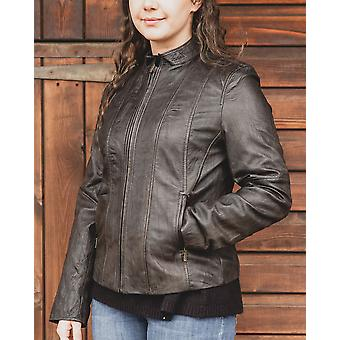 Nordvek Womens Leather Jacket - Biker Style Leather Coat # 714-100