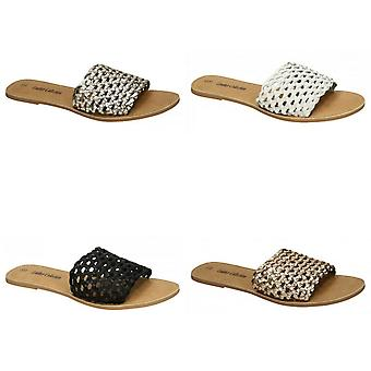 Leather Collection Womens/Ladies Flat Weave Mule Sandals
