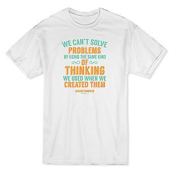 Resolución de problemas de Albert Einstein cita camiseta blanca de los hombres