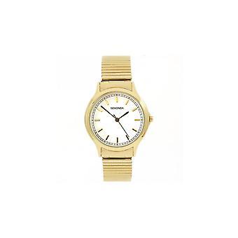Sekonda Mens Ronde Witte Wijzerplaat Goud Groeiende Armband Horloge 3136B