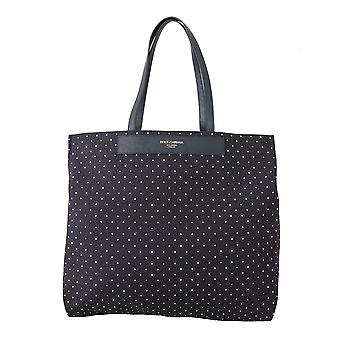 Blue dotted love women hand tote purse