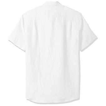 Essentials Men's Slim-Fit Short-Sleeve Linen Shirt, White, XX-Large