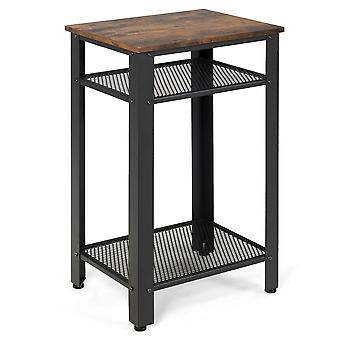 3-Tier Industrial Nightstand End Table Beside Table Sofa Bed Coffee End Table