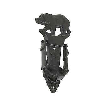 Rustic Black Cast Iron Walking Bear Decorative Door Knocker Outdoor Lodge Decor