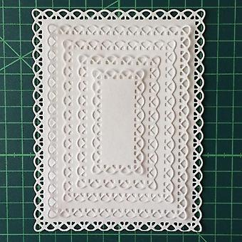 Corte de metal de retângulo atado morre 5pcs para scrapbooking - Diy Photo