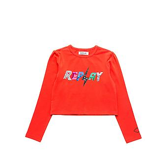 Replay Girls' Sequins Print Crop T-Shirt